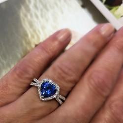 Heart Shaped Ceylon Sapphire and Diamond Ring
