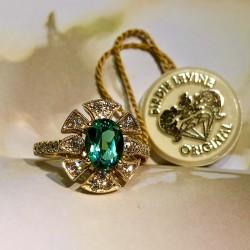 Birdie Levine Creations Green Tourmaline and Diamond Ring