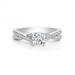 Black Label Round Diamond Twist Pave Engagement Ring