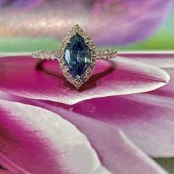 Blue Marquise Diamond Ring