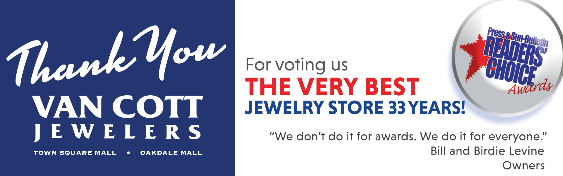 Thank You For Voting Us Best Jewelry Store!!